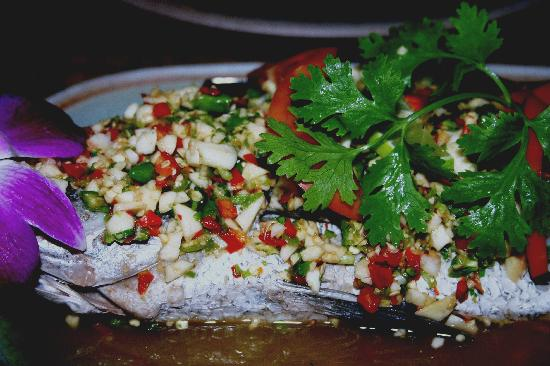 Tongue Thai: Steamed Seabass with garlic and lime