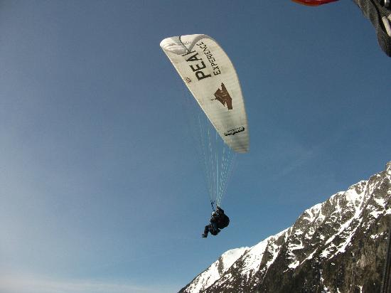 Fly Chamonix - Tandem Paragliding: That's me- Mum managed the camera as well as flying!The Swanage Girls.