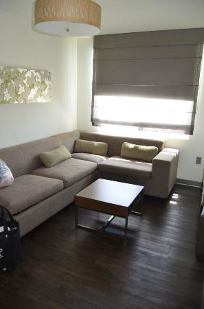Element Arundel Mills: Living area in the 1-bedroom suite, pull-out sofa