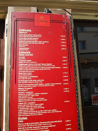 Angelo Party Cafe: the menu
