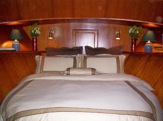 Green Turtle Floating Bed and Breakfast: Green Turtle II Forward Queen Stateroom has en suite bathroom/shower