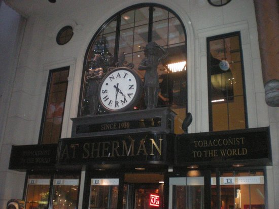 Nat Sherman, Inc. : The front of Nat Sherman's with the iconic clock