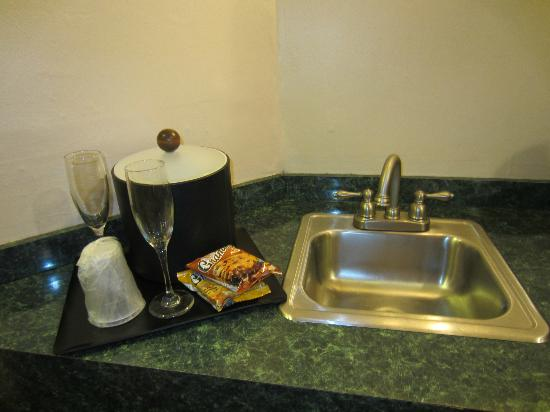 Inn of the Dove - Bensalem : Wet Bar - ice bucket and sink. Complimentary cookies
