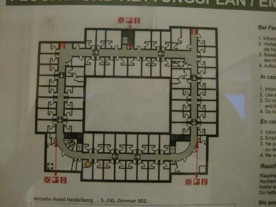 Arcadia Hotel Heidelberg: 部屋の配置図です