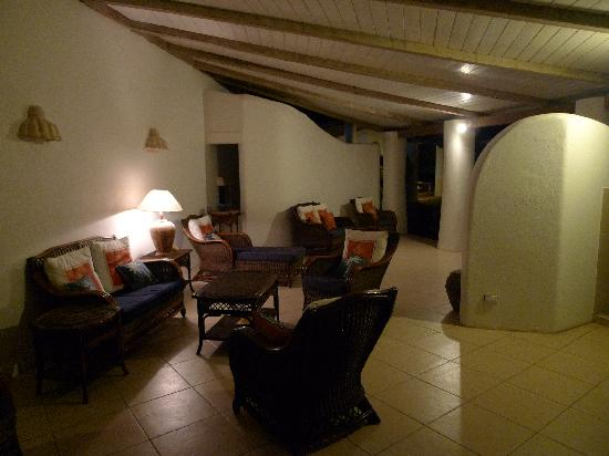 Peach and Quiet: Night view of one of the lounge areas
