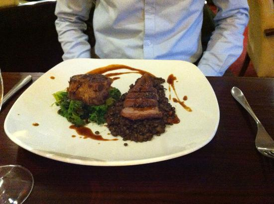 Choice Bar & Restaurant: Pan Seared Duck Breast with a Ballotine of Confit Duck Leg & Braised Puy Lentils & Kale