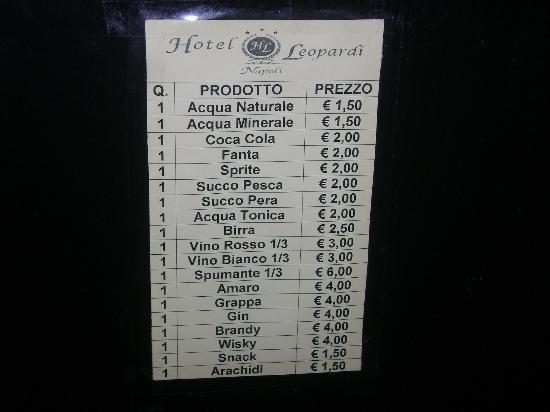 Hotel Leopardi: prezzi frigo bar