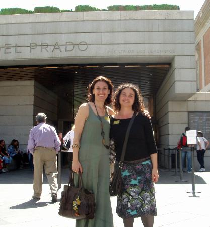Madrid Cool and Cultural: Gemma and I at the entrance of the Prado Museum