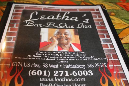 Leatha's Bar-B-Que Inn : Menu from Leatha's
