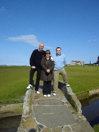 The New Inn St Andrews: The 3 of us on the bridge.John will know us from the picture.