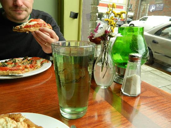 Green Light Cafe: Filtered water with chlorophyll added (for digestion)