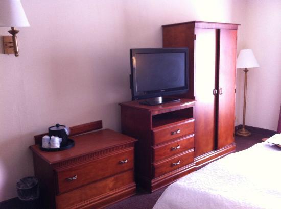 Hampton Inn Albany - Wolf Road (Airport) : Flat Screen TV and Wardrobe