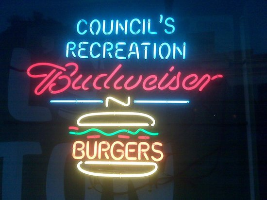 Council's Burgers, Beer, Billiards: Council's Recreation Sign