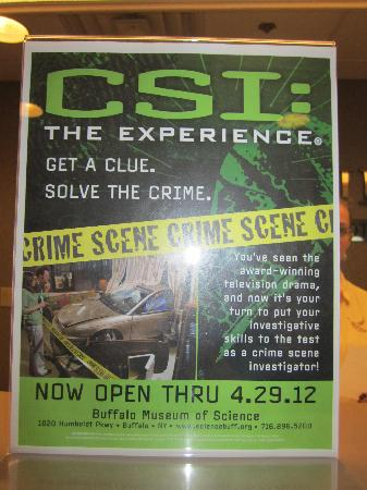 Sleep Inn: Flyer on the front desk for CSI attraction