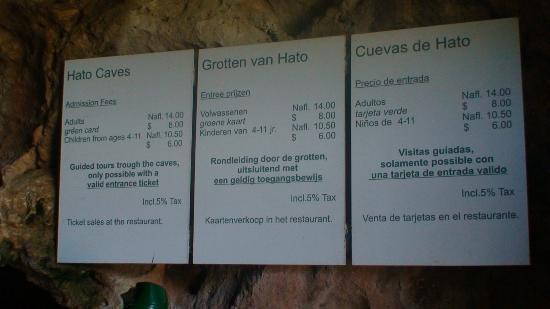Hato Caves: Tarifas de entrada a las Cuevas de Hato