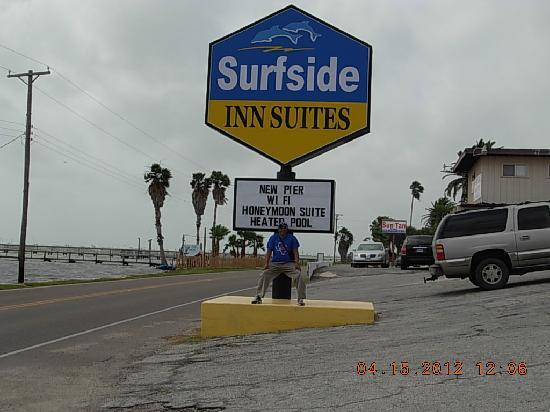Surfside Inn Suites: Surfside Inn sign & My husband