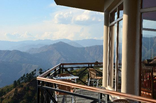 Banjara Camps - Thanedar: Dining Room Balcony with the middle and greater Himalayas in the backdrop