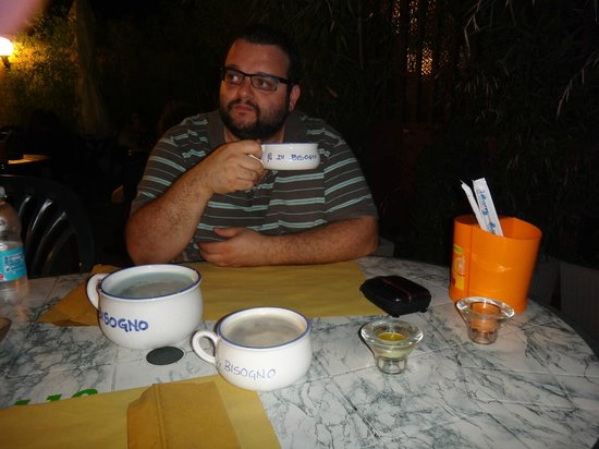 "Il Bisogno: Me at a table with all 3 sizes of ""chamber pots"" like mugs"