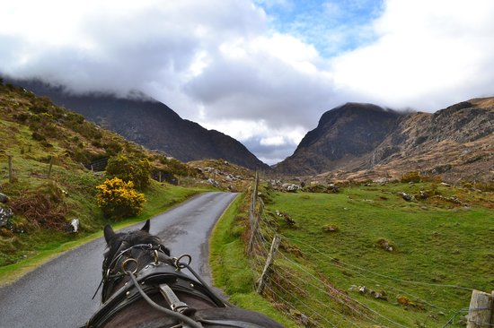 Killarney, Irland: View of the Gap of Dunloe from the Jaunting Car