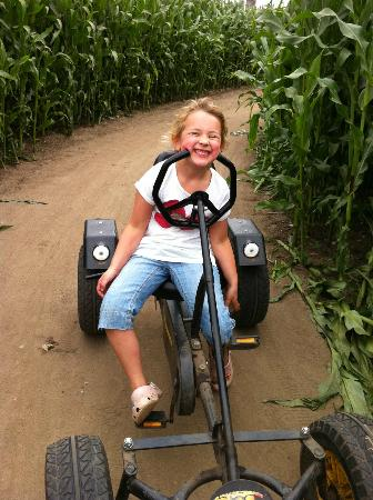 Southwold Maize Maze: cheeky Millie having fun on the karts