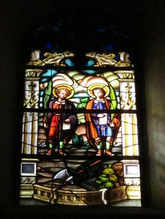 Catedral de Alcala de Henares: Stained glass window representing Justo & Pastor