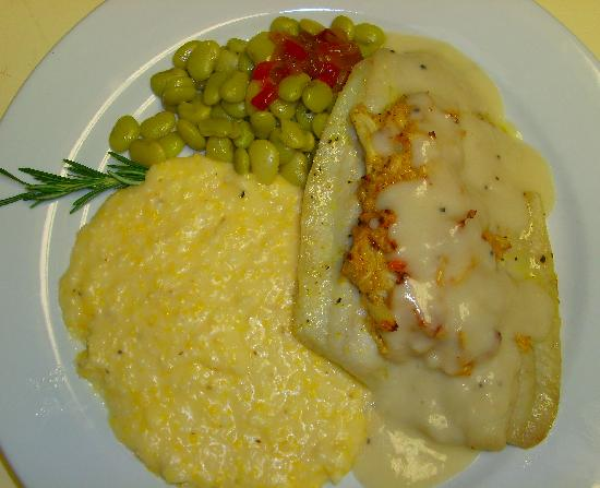 The Old Post Office Restaurant: Baked Flounder Filet with Crab topped with Veloute Sauce