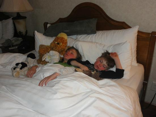 Charlton's Banff: The kids passed out after a busy day of skiing, sight seeing, and swimming.