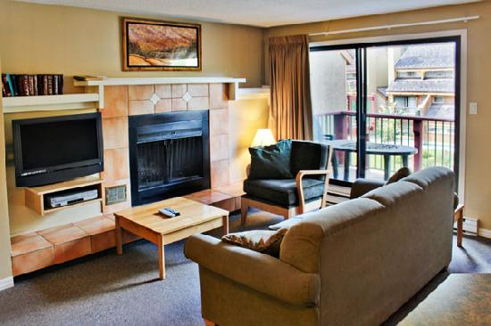Panorama Vacation Retreat at Horsethief Lodge : Living Room of a Two Bedroom Unit
