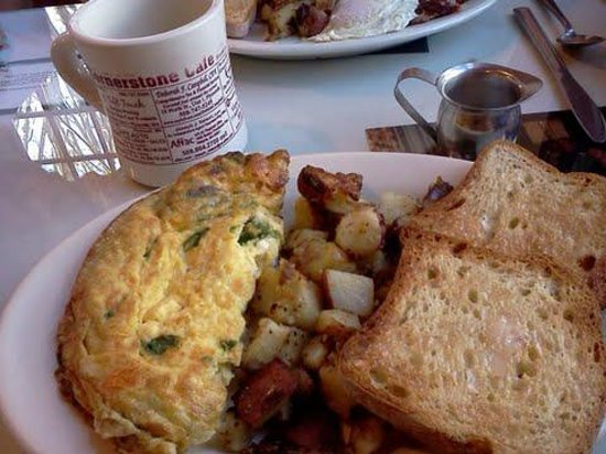 Cornerstone Cafe: Athenian Omlette with toast and homefries. Gluten Free