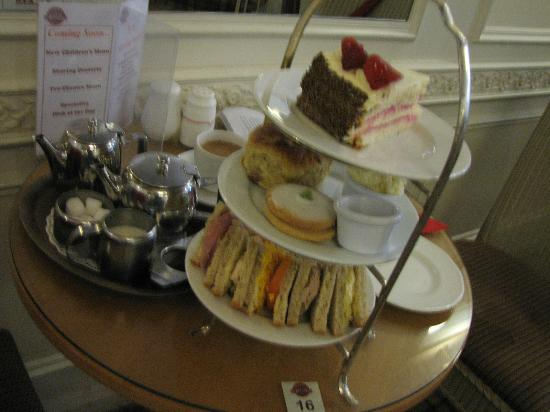 Bradfords Tea Room: Afternoon Tea: cream pie, a scone with clotted cream, an Empire biscuit and sandwiches (£9.95)