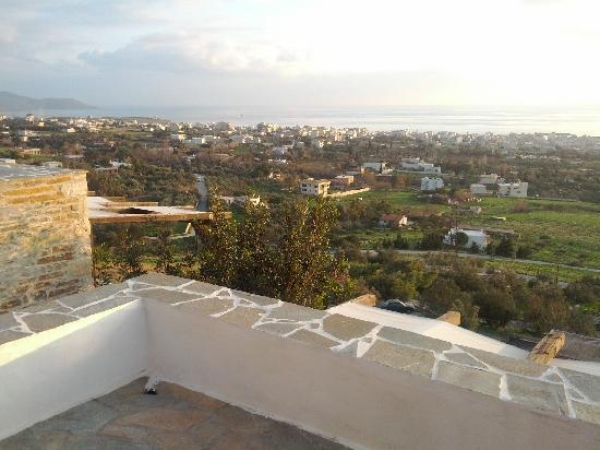 Lithos Traditional Villas: View from the upper terrace towards Karystos and the sea