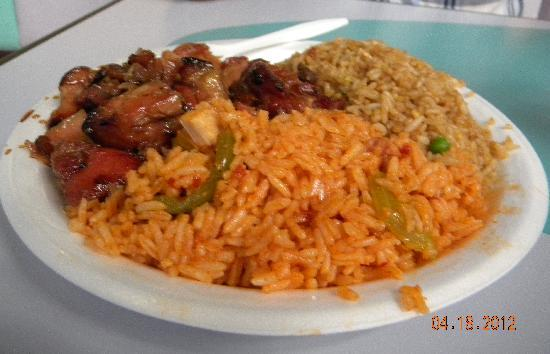 Little Tokyo : Teriyaki chicken, white rice, & mixed vegetable rice