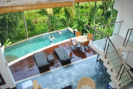 Villa Sancita: view of pool from second bedroom