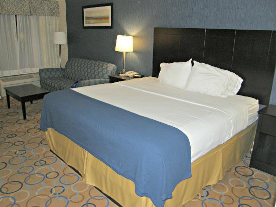 Holiday Inn Express Hotel & Suites Williamsport: Cama king y sofá cama incómodo