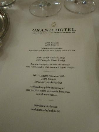Matsalen - Grand Hotel Lund: Menu, no photo of second starter, the very good oxtail/tounge
