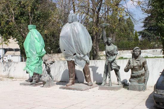 Tirana, Albania: Parking lot communists