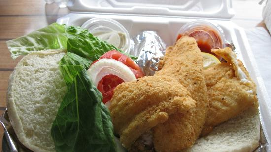 Ocean's Seafoods : Laurie's Fresh Flounder Sandwich