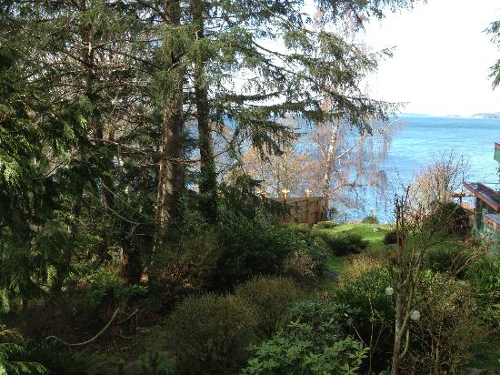The Salish Seaside Escapes: View from the bedroom balcony at Heron Cove