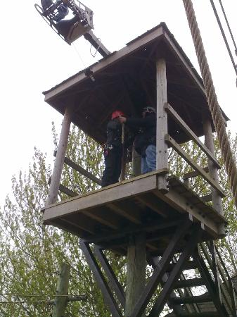 Treetop Extreme: Being strapped in by one of the helpful members of staff