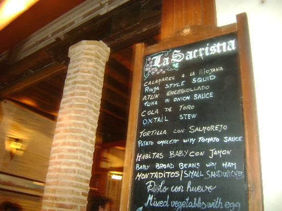 Bar La Sacristia: MENU'