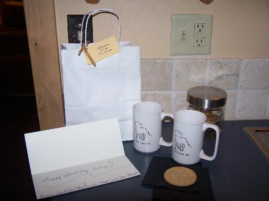 Wild Horse Inn : The birthday card and gifts from the Inn.