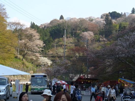 Yoshinoyama Ropeway: やや右の方にTの字にうっすら見えるのが支柱。