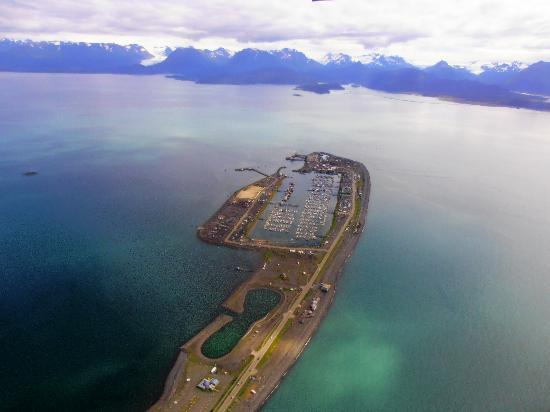 A Rosy Outlook B and B: Aerial view of Homer Spit
