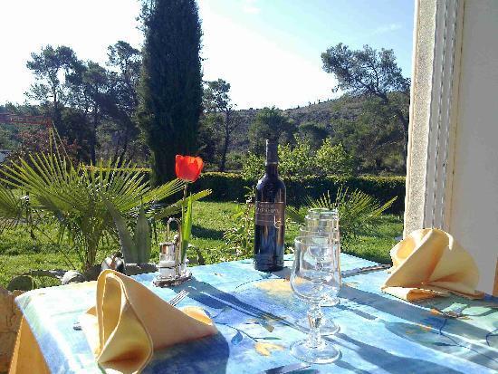 Auberge du Grand Chene: Petit déjeuner sur la vérenda ouvert ou Climatiser
