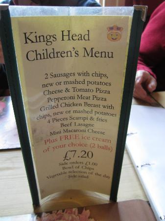 Kings Head: Kids Menu