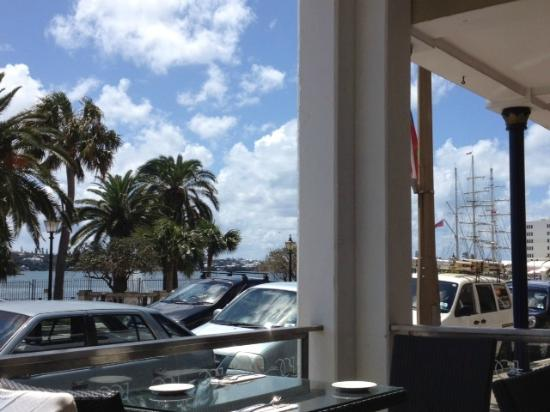 Port O Call: View of harbor from patio. Notice the ship in the back right.