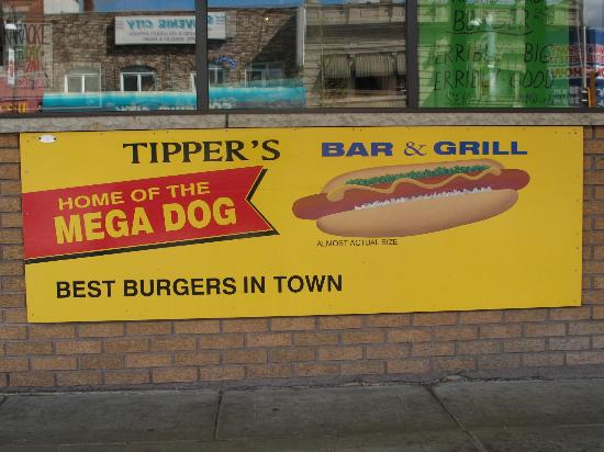 Tippers Bar & Grill: out side sign front window