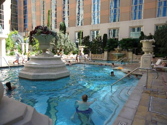 Venezia tower pool garden picture of the venetian las for Pool and patio show las vegas