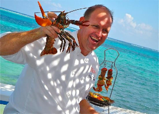 Chef Ron with our Live Lobster & Tukka Brochette!