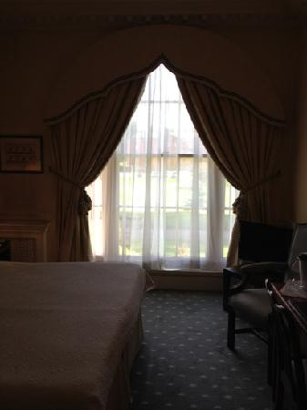Brocket Hall: room window. view of stately home